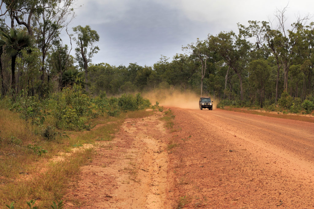 Torres and cape driving through the dirt roads of bamaga