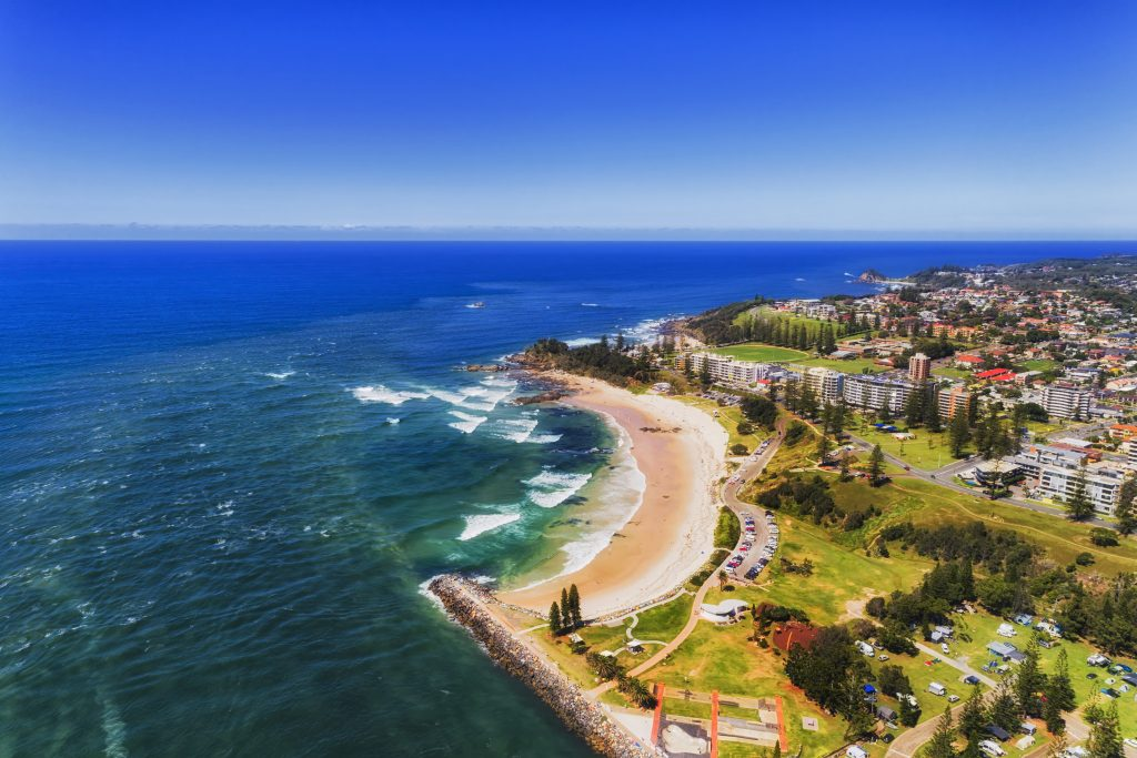 Port Macquarie beach ariel view