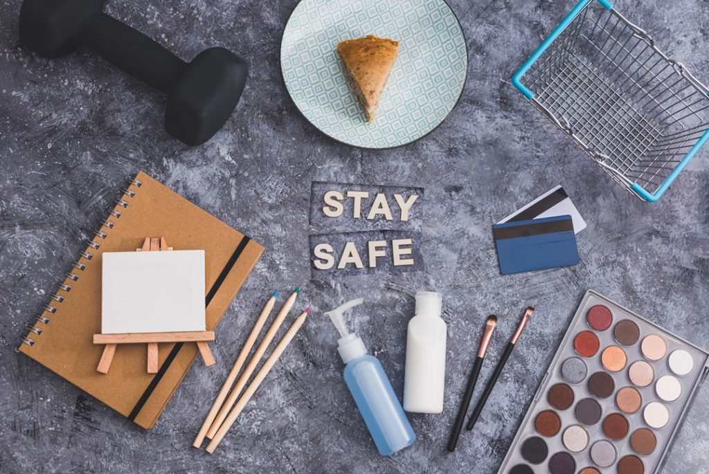 How are Affinity Nurses spending time in isolation hobbies at home stay safe flat lay with arts and craft