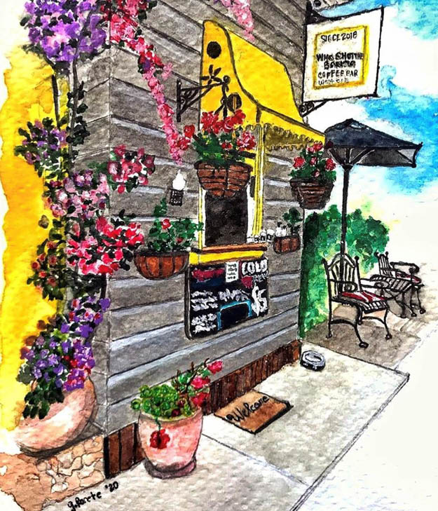 Become a travel nurse water colour painting brisbane west end cafe